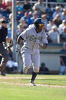 July 18, 2010: Eugene Emeralds' Rymer Liriano (#12) runs to first base during a Northwest League game against the Everett AquaSox at Everett Memorial Stadium in Everett, Washington.