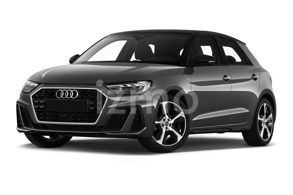 Low aggressive front three quarter view of 2019 Audi A1-Sportback S-Line 5 Door Hatchback Low Aggressive