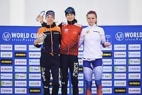 SPEEDSKATING: SALT LAKE CITY: Utah Olympic Oval, 09-03-2019, ISU World Cup Finals, Podium World Cup 3000/5000m Ladies, Esmee Visser (NED), Martina Sablikova (CZE), Natalia Voronina (RUS), ©Martin de Jong