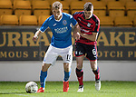Dave Mackay Testimonial: St Johnstone v Dundee…06.10.17…  McDiarmid Park… <br />David Wotherspoon and Jordan Piggott<br />Picture by Graeme Hart. <br />Copyright Perthshire Picture Agency<br />Tel: 01738 623350  Mobile: 07990 594431