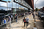 BROOKLYN, NY — OCTOBER 24, 2020:  People wait in line to vote outside of the Barclay's Center, during the first day of early voting in the U.S. Presidential Election, on October 24, 2020 in Brooklyn, NY.  Photograph by Michael Nagle