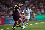 Achraf Hakimi of Real Madrid (R) fights for the ball with Raphael Varane of Real Madrid (L) during the UEFA Champions League 2017-18 match between Real Madrid and Tottenham Hotspur FC at Estadio Santiago Bernabeu on 17 October 2017 in Madrid, Spain. Photo by Diego Gonzalez / Power Sport Images