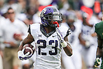 TCU Horned Frogs running back B.J. Catalon (23) in action during the game between the TCU Horned Frogs and the Baylor Bears at the McLane Stadium in Waco, Texas. TCU leads Baylor 31 to 27 at halftime.