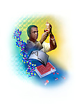 photo illustration, composite of DNA research scientist