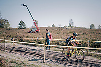 Tom Pidcock (GBR/U23/Telenet Fidea Lions) riding through the deserted heath at the backside of the course<br /> <br /> U23 race<br /> CX Super Prestige Zonhoven 2017