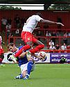 Jonathan Grounds of Oldham tackles Lucas Akins of Stevenage<br />  Stevenage v Oldham Athletic - Sky Bet League 1 - Lamex Stadium, Stevenage - 3rd August, 2013<br />  © Kevin Coleman 2013