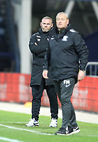 20th April 2021; Deepdale, Preston, Lancashire, England; English Football League Championship Football, Preston North End versus Derby County; Derby County manager Wayne Rooney looks on grim faced after his team go three goals behind