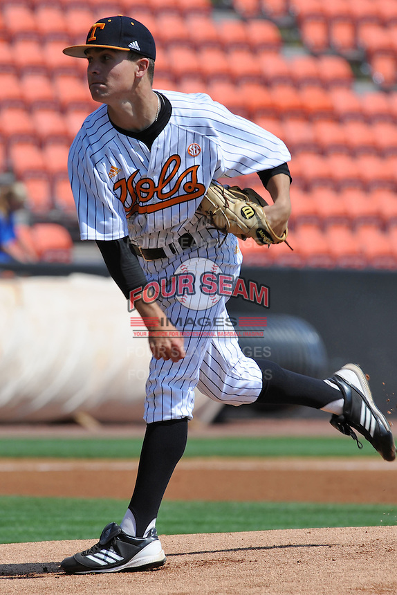 Tennessee Volunteers starting pitcher Robbie Kidd #33 delivers a pitch during a game against the Florida Gators at Lindsey Nelson Stadium, Knoxville, Tennessee April 14, 2012. The Volunteers won the game 5-4  (Tony Farlow/Four Seam Images)..