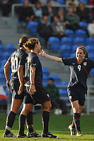 US Women's National Team players (L-R) Abby Wambach, Lauren Cheney and Heather O'Reilly celebrate Lauren Cheney's goal vs Germany in the 2010 Algarve Cup Final. USA won 3-2.