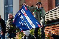 1st May 2021; Weston Homes Stadium, Peterborough, Cambridgeshire, England; English Football League One Football, Peterborough United versus Lincoln City; Peterborough United fans celebrate outside The Weston Homes Stadium after winning promotion to the EFL Championship