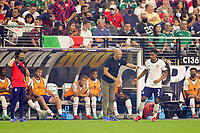 LAS VEGAS, NV - AUGUST 1: United States head coach Gregg Berhalter talks with Reggie Cannon during a game between Mexico and USMNT at Allegiant Stadium on August 1, 2021 in Las Vegas, Nevada.