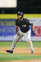 Akron RubberDucks first baseman Bobby Bradley (44) leads off first base during a game against the Binghamton Rumble Ponies on May 12, 2017 at NYSEG Stadium in Binghamton, New York.  Akron defeated Binghamton 5-1.  (Mike Janes/Four Seam Images)