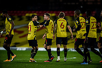 4th November 2020; Vicarage Road, Watford, Hertfordshire, England; English Football League Championship Football, Watford versus Stoke City; Watford players celebrate Tom Cleverley's equaliser for Watford in the 28th minute 1-1