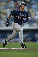 Sean Burroughs of the San Diego Padres during a 2003 season MLB game at Dodger Stadium in Los Angeles, California. (Larry Goren/Four Seam Images)