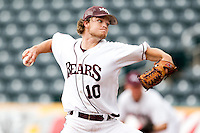 Nick Petree (10) of the Missouri State Bears delivers a pitch during a game against the Bradley Braves on May 13, 2011 at Hammons Field in Springfield, Missouri.  Photo By David Welker/Four Seam Images