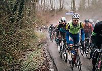 Aime De Gendt (BEL/Sport Vlaanderen - Baloise) up the Trieu<br /> <br /> 73rd Dwars Door Vlaanderen 2018 (1.UWT)<br /> Roeselare - Waregem (BEL): 180km