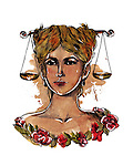 Illustration of young woman with weight scale over head representing Libra zodiac sign