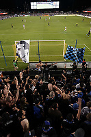 SAN JOSE, CA - SEPTEMBER 25: Chris Wondolowski #8 of the San Jose Earthquakes leads a chant in the supporter's section during a Major League Soccer (MLS) match between the San Jose Earthquakes and the Philadelphia Union on September 25, 2019 at Avaya Stadium in San Jose, California.