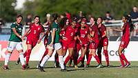Bradenton, FL - Sunday, June 12, 2018: Kennedy Wesley, Mia Fishel, USA, goal celebration during a U-17 Women's Championship Finals match between USA and Mexico at IMG Academy.  USA defeated Mexico 3-2 to win the championship.