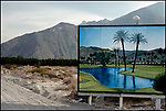 A billboard advertising a golf resort at roadside outside Palm Springs, CA