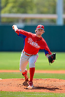 Philadelphia Phillies pitcher Colin Kleven during a minor league Spring Training game against the Atlanta Braves at Al Lang Field on March 14, 2013 in St. Petersburg, Florida.  (Mike Janes/Four Seam Images)