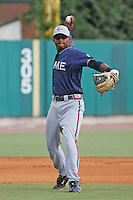Rome Braves shortstop Mycal Jones #24 throwing during a game vs. the Charleston Riverdogs at Joseph P. Riley Jr. Ballpark in Charleston, South Carolina on June 6, 2010. Charleston defeated Rome by the score of 4-2.  Photo By Robert Gurganus/Four Seam Images