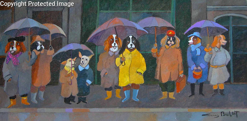 Example <br /> Acrylic on Canvas/Dog Park Friends<br /> Waiting in the Rain for the Bus!<br /> <br /> (Limited Edition Prints available.)