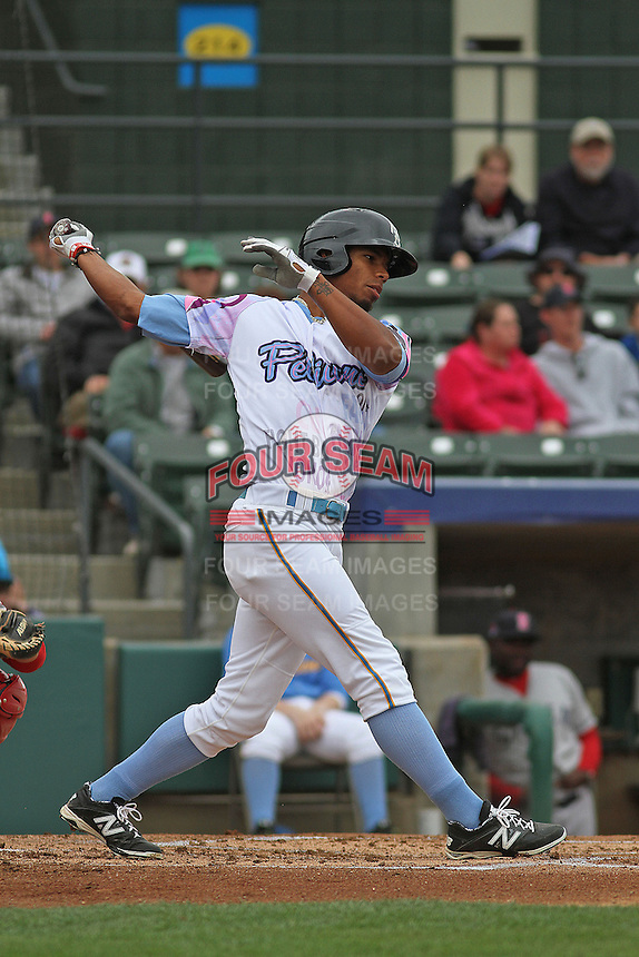 Myrtle Beach Pelicans outfielder Nick Williams #1 at bat during a game against the Salem Red Sox at Ticketreturn.com Field at Pelicans Ballpark on April 6, 2014 in Myrtle Beach, South Carolina. Salem defeated Myrtle Beach 3-0. (Robert Gurganus/Four Seam Images)