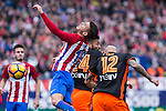 Lucas Hernandez of Atletico de Madrid competes for the ball with Simone Zaza of Valencia CF  during the match of Spanish La Liga between Atletico de Madrid and Valencia CF at  Vicente Calderon Stadium in Madrid, Spain. March 05, 2017. (ALTERPHOTOS / Rodrigo Jimenez)
