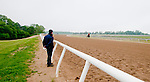 Trainer Graham Motion waits for Animal Kingdom, winner of the 137th Kentucky Derby, as he continues to train for the Preakness at the Fair Hill Training Center on May 14, 2011 in Fair Hill, Maryland.