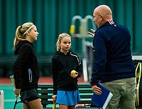Wateringen, The Netherlands, November 27 2019, De Rhijenhof , NOJK 12/16 years, Kate Swets  vs Mirthe de Bresser with umpire<br /> Photo: www.tennisimages.com/Henk Koster