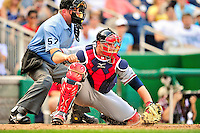 25 September 2010: Atlanta Braves catcher Brian McCann in action against the Washington Nationals at Nationals Park in Washington, DC. The Braves shut out the Nationals 5-0 to even their 3-game series at one win apiece. The Braves' victory was the 2500th career win for skipper Bobby Cox. Cox will retire at the end of the 2010 season, crowning a 29-year managerial career. Mandatory Credit: Ed Wolfstein Photo
