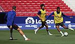 Atletico de Madrid's Mario Hermoso, Joao Felix and Thomas Lemar during training session. June 19,2020.(ALTERPHOTOS/Atletico de Madrid/Pool)