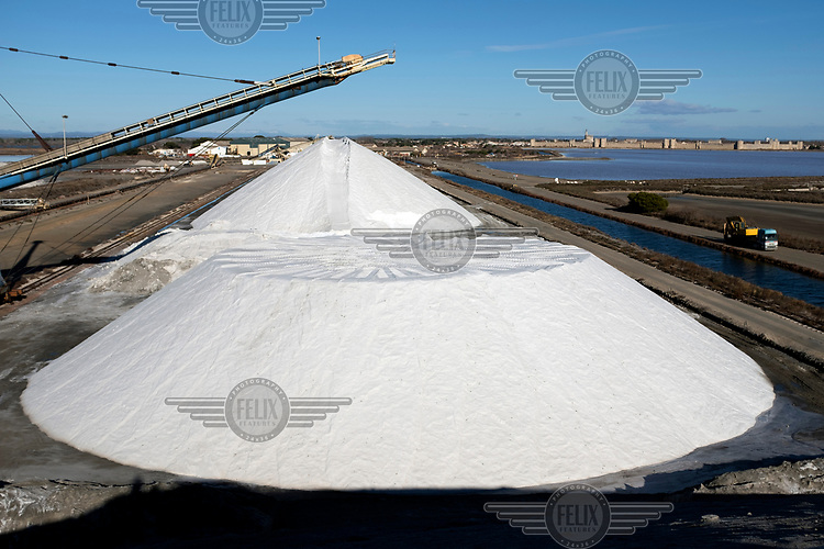 A mound of sea salt from the Salin d'Aigues-Mortes in the Camargue.