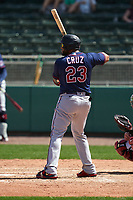 Minnesota Twins Nelson Cruz (23) bats during a Major League Spring Training game against the Boston Red Sox on March 17, 2021 at JetBlue Park in Fort Myers, Florida.  (Mike Janes/Four Seam Images)