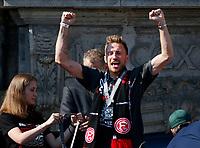 Duesseldorf, Germany, 2. Bundesliga, promotion to 1. Bundesliga of  Fortuna Duesseldorf, team celebrates at Rathausmarkt of Duesseldorf, 14.05.2018<br /> Adam BOTZEK (F95)<br /> *** Local Caption *** © pixathlon<br /> Contact: +49-40-22 63 02 60 , info@pixathlon.de