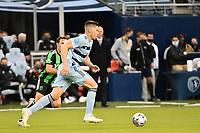 KANSAS CITY, KS - MAY 9: Andreu Fontas #3 Sporting KC with the ball during a game between Austin FC and Sporting Kansas City at Children's Mercy Park on May 9, 2021 in Kansas City, Kansas.