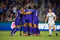Orlando, FL - Saturday March 24, 2018: Orlando Pride players celebrate a penalty shot goal by Orlando Pride forward Marta Vieira da Silva (10) during a regular season National Women's Soccer League (NWSL) match between the Orlando Pride and the Utah Royals FC at Orlando City Stadium. The game ended in a 1-1 draw.