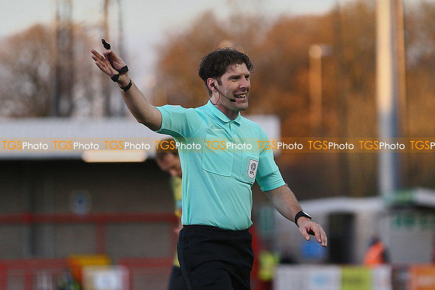 Referee Neil Hair during Crawley Town vs Barrow, Sky Bet EFL League 2 Football at Broadfield Stadium on 12th December 2020