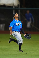 Hudson Valley Renegades outfielder Garrett Whitley (20) gets under a fly ball during a game against the Vermont Lake Monsters on September 3, 2015 at Centennial Field in Burlington, Vermont.  Vermont defeated Hudson Valley 4-1.  (Mike Janes/Four Seam Images)