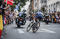 Julian Alaphilippe (FRA/Deceuninck-Quick Step) on his way to solo victory and the Rainbow Jersey<br /> <br /> Men Elite – Road Race (WC)<br /> Race from Antwerp to Leuven (268.3km)<br /> <br /> ©kramon