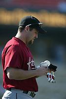 Lance Berkman of the Houston Astros during a 2003 season MLB game at Dodger Stadium in Los Angeles, California. (Larry Goren/Four Seam Images)