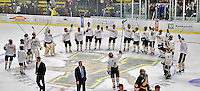 16 February 2008: The University of Vermont Catamounts salute the crowd at center ice after a game against the Merrimack College Warriors at Gutterson Fieldhouse in Burlington, Vermont. The Catamounts defeated the Warriors 2-1 for their second win of the 2-game weekend series...Mandatory Photo Credit: Ed Wolfstein Photo