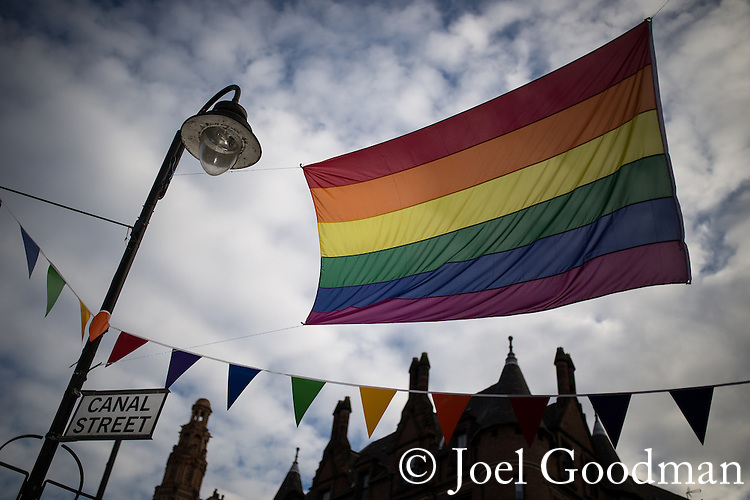 "© Joel Goodman - 07973 332324 . 22/08/2014 .  Manchester , UK . Rainbow flag on Canal Street . Manchester Pride "" Big Weekend "" in Manchester's "" Gay Village "" today ( 22nd August 2014 ) . Photo credit : Joel Goodman"