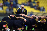 Hurricanes scrum coach Dan Cron during the Super Rugby final match between the Hurricanes and Lions at Westpac Stadium, Wellington, New Zealand on Saturday, 6 August 2016. Photo: Marco Keller - www.polomedia.co.nz / lintottphoto.co.nz