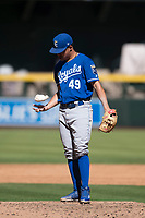 Kansas City Royals relief pitcher Franco Terrero (49) during an Instructional League game against the Arizona Diamondbacks at Chase Field on October 14, 2017 in Scottsdale, Arizona. (Zachary Lucy/Four Seam Images)