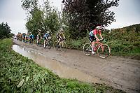 Christine Majerus (LUX/SD Worx) preceding Marianne Vos (NED/Jumbo Visma)<br /> <br /> Inaugural Paris-Roubaix Femmes 2021 (1.WWT)<br /> One day race from Denain to Roubaix (FRA)(116.4km)<br /> <br /> ©kramon