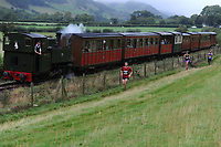 Pictured: Runners take part in race the train<br /> Saturday 18 August 2018<br /> Re: Race the Train is an annual cross country running event that takes place in Tywyn, Mid Wales, UK