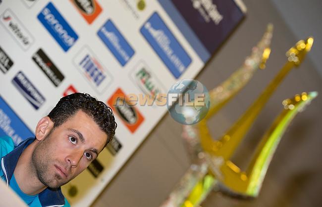 Vincenzo Nibali (ITA) Astana at press conference to launch the 2015 Tirreno-Adriatico cycle race held in Lido di Camaiore, Lucca, Italy. 10th March 2015. Photo: ANSA/Claudio Peri/www.newsfile.ie