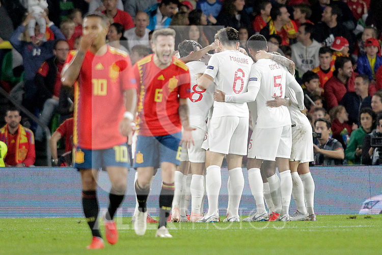 England's players celebrate goal in presence of Spain's Thiago Alcantara (l) and Saul Niguez (2l) during UEFA Nations League 2019 League Phase match. October 15,2018.(ALTERPHOTOS/Acero)